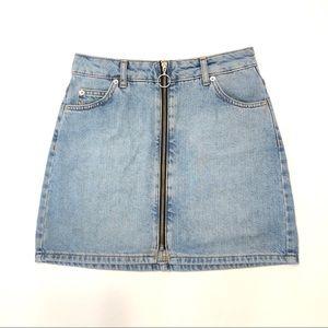 Topshop Moto | O-ring Zip Front Denim Skirt